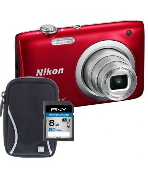NIKON COOLPIX A100 Appareil photo numérique Compact - 20,1 mégapixels - Zoom NIKKOR - Rouge + Carte 8Go + Etui