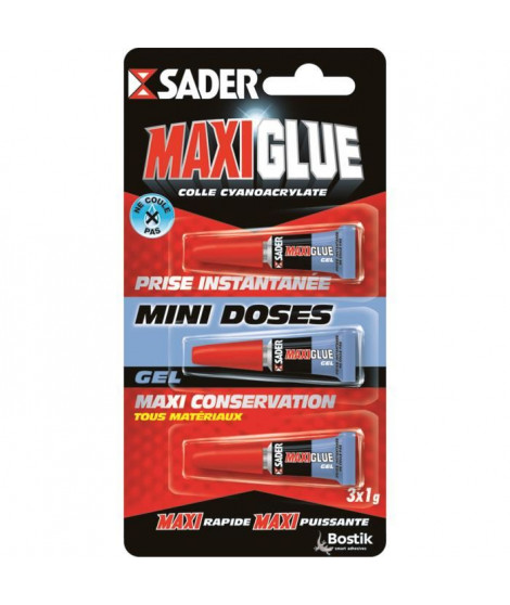 SADER Maxiglue Colle Instantanée Cyano Tous Usages - 3 x 1g