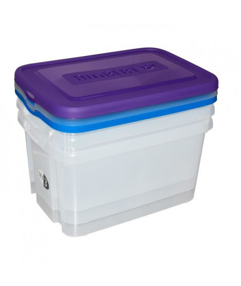 ALLIBERT Lot de 3 boites de rangement Handy Box 50 L