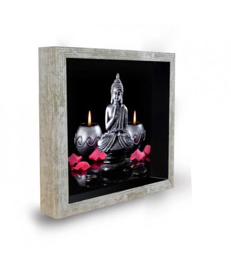 Tableau déco cadre vitrine 20x20 - Bouddha bougies