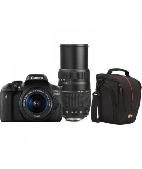 Pack CANON EOS 750D Appareil Photo Numérique Reflex 24 MP + Objectif 18-55 mm IS STM + Sacoche + Objectif