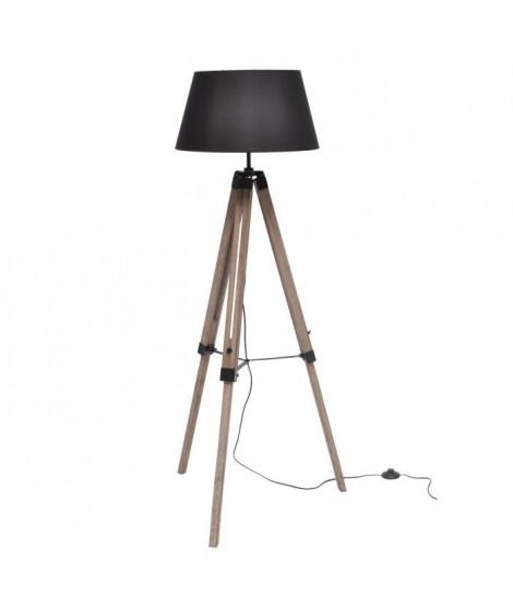 NATURE lampadaire  bois  noir abat-jour noir