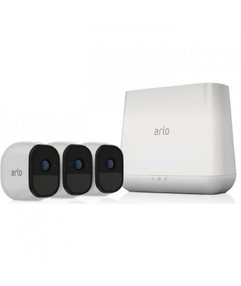 Arlo Pro Pack de 3 Caméras, Smart caméra HD grand angle avec batterie rechargeable Intérieure/extérieure alarme intégrée