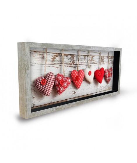 Tableau déco cadre vitrine 20x50 - Coeurs