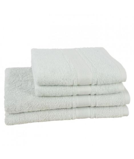 JULES CLARYSSE Lot de 2 draps de bain + 2 serviettes ROYALE - Gris Perle