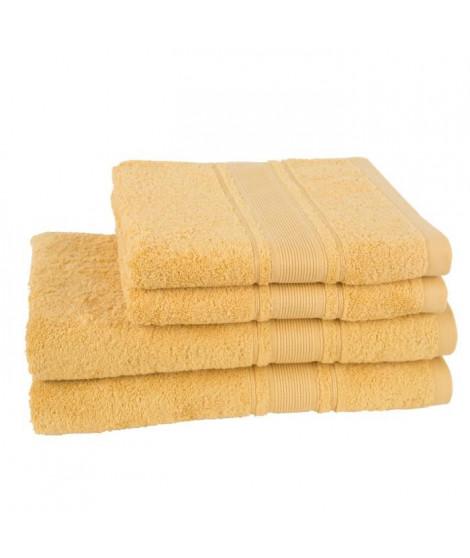 JULES CLARYSSE Lot de 2 draps de bain + 2 serviettes ROYALE - Jaune