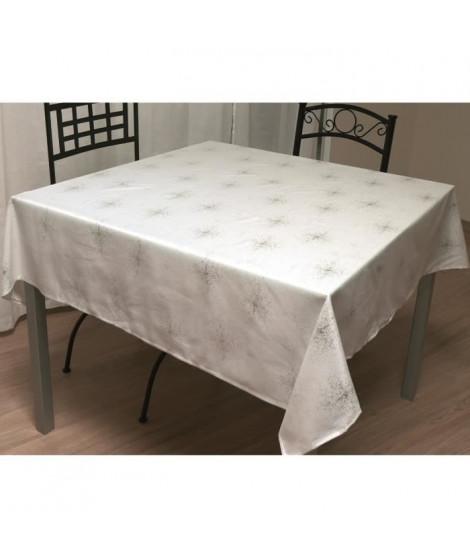 SOLEIL D'OCRE Nappe de table carrée Strass 180x180 cm blanc