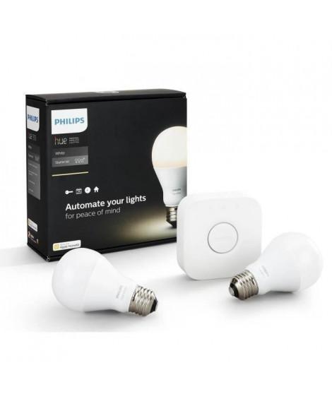 PHILIPS Hue White Pack de démarrage 2 ampoules E27 avec pont de connexion