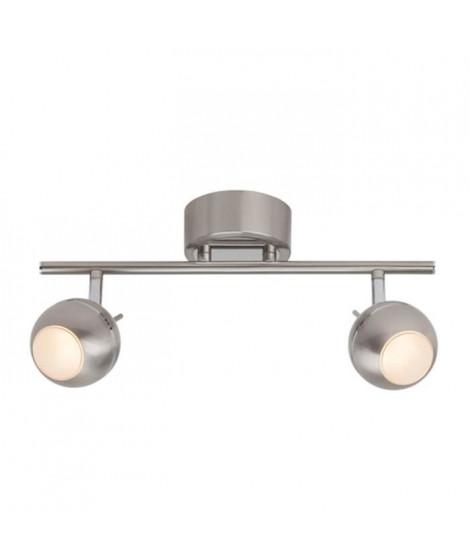 BRILLANT Plafonnier LED a 2 lumieres 9 W argenté et chromé