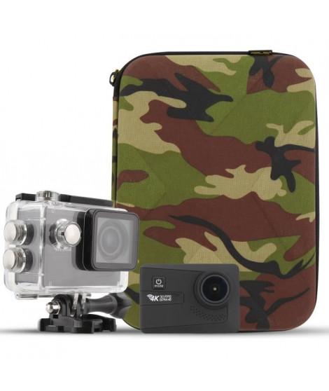 T'NB Pack Caméra sport 4K WiFi - Capteur CMOS 16 mégapixels + Malette design Army