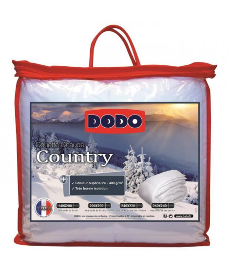 DODO Pack Country Couette chaude 240x260 cm + 2  oreillers 60x60cm blanc