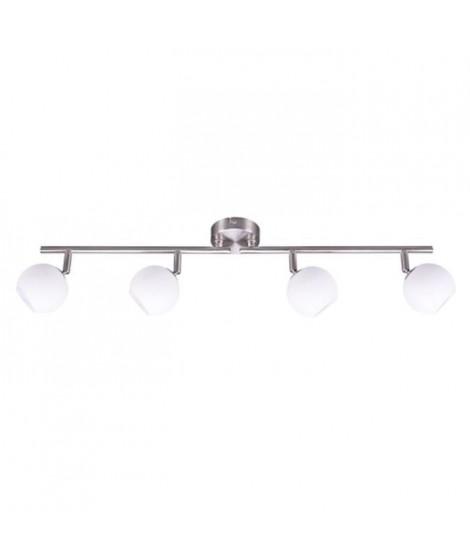 BRILLANT Plafonnier LED a 4 lumieres ajustables 9 W argenté et blanc