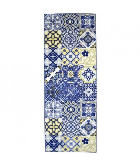 Tapis Utopia 250 80x300 cm bleu, jaune et blanc
