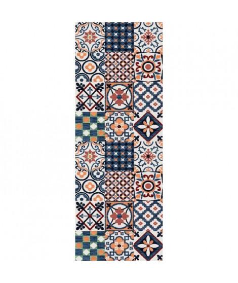 Tapis Utopia 250 80x300 cm orange, bleu et blanc