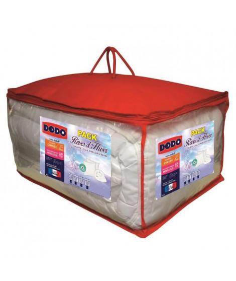DODO Pack Anti-acariens Reves d'hiver - 1 couette 200x200 cm + 1 oreiller 60x60 cm blanc