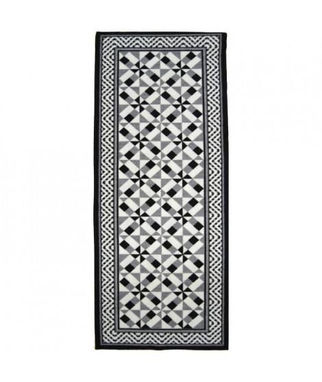 Tapis Utopia 400 80x300 cm noir, gris et blanc