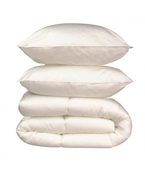 Pack linge de lit Microfibre - 1 Couette 260x240 cm + 2 Oreillers 60x60 cm blanc