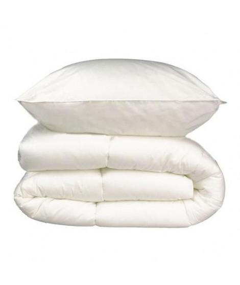 Pack linge de lit 4 saisons - 2 Couettes 140x200 cm + 1 Oreiller 60x60 cm blanc