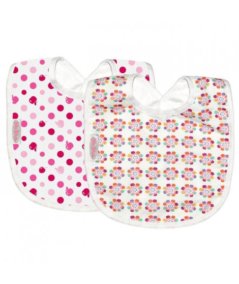 SILLY BILLYZ Pack de 2 Bavoirs design Rose