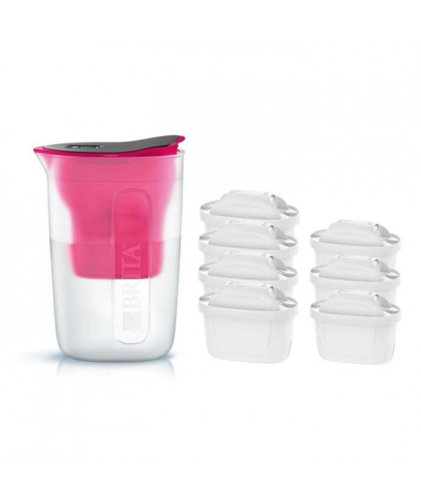 Pack BRITA Carafe filtrante FUN Rose + 7 Cartouches de rechange