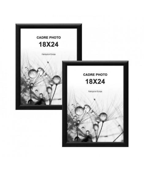 MODENA Lot de 2 cadres photos 18x24 cm Noir mat