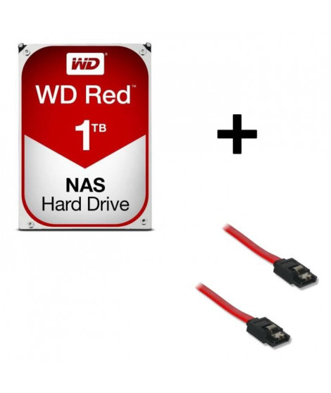 "WD Red 1To 64Mo 3.5"" WD10EFRX + Câble Serial ATA mâle / mâle 50 cm"