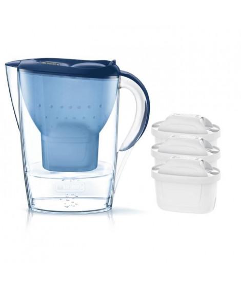 Pack BRITA Carafe filtrante MARELLA Bleu + 3 Cartouches de rechange