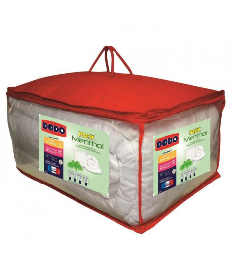 DODO Pack Couette et Oreillers FRAICHEUR MENTHOL 220x240 cm blanc