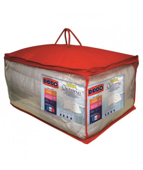 DODO Pack ONTARIO - 1 couette chaude 200x200 cm + 1 oreiller 60x60 cm blanc