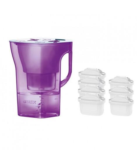 Pack BRITA Carafe filtrante NAVELIA Violet + 7 Cartouches de rechange
