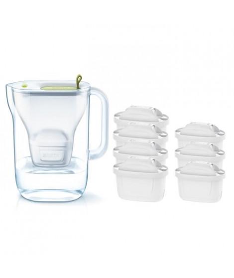 Pack BRITA Carafe filtrante STYLE Vert + 7 Cartouches de rechange