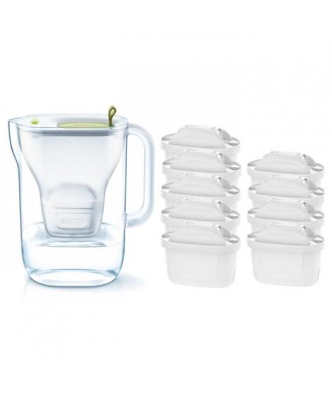 Pack BRITA Carafe filtrante STYLE Vert + 9 Cartouches de rechange