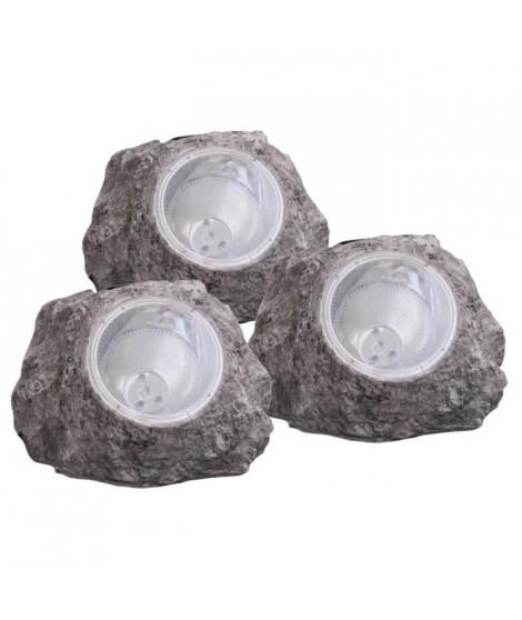 Globo Lighting Lot de 3 rochers solaire - Plastique gris - Plastique translucide - IP44