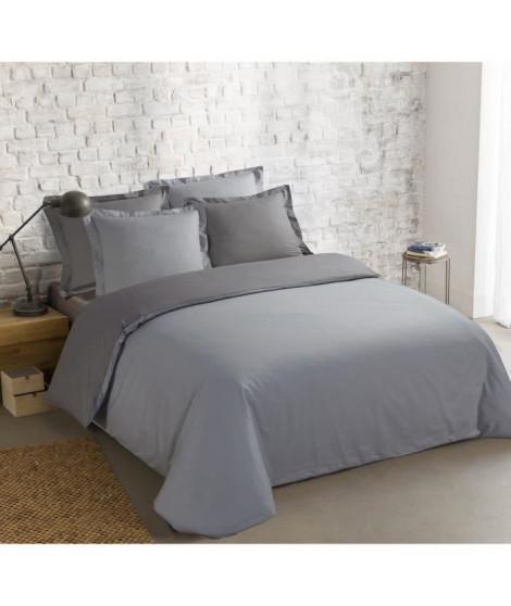 VISION Parure de couette 100% coton - 1 housse de couette 240x260 cm + 2 taies 65x65 cm gris et gris perle