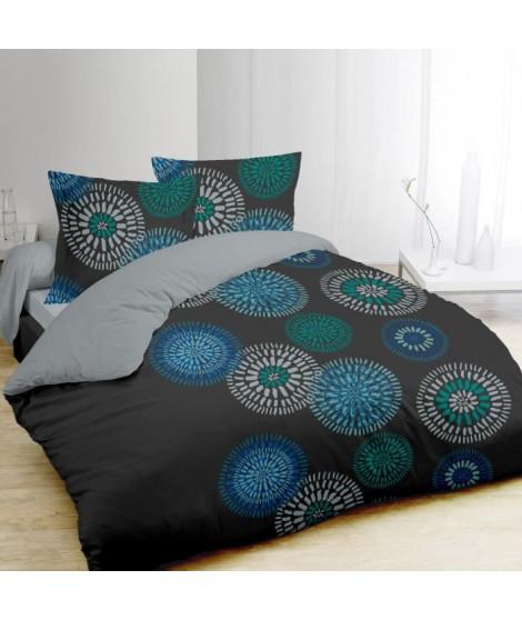 VISION Parure de couette Ines 100% coton - 1 housse de couette 240x260cm + 2 tais 65x65cm - Gris, bleu et vert