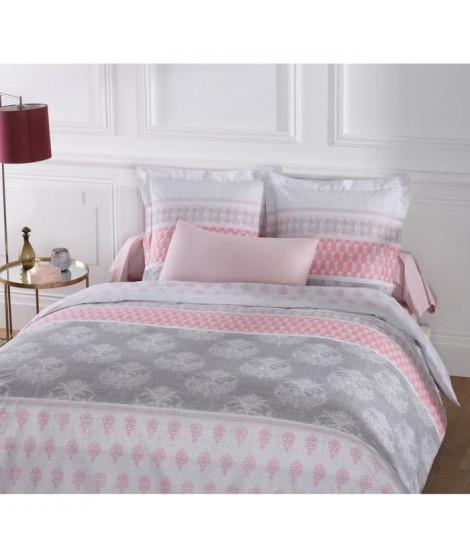 VISION Parure de couette Romane 100% coton - 1 housse de couette 220x240 cm + 2 taies 65x65 cm blanc et rose