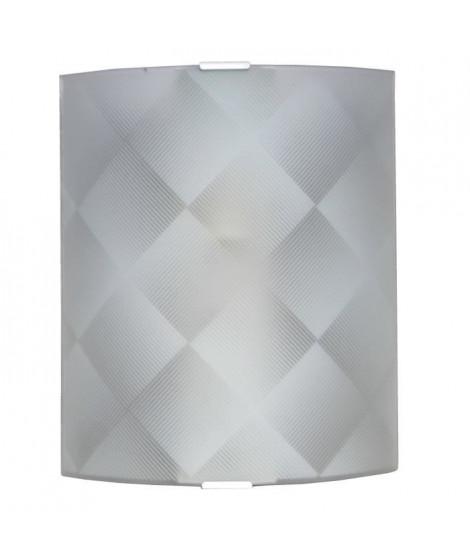 GEOMETRIC Applique en verre incurve, dépoli et sérigraphie motif géométrique 20x25cm ? ampoule E27 60W max non incluse