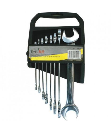 TEC HIT Jeu 8 clés plates 6 a 22mm chrome vanadium
