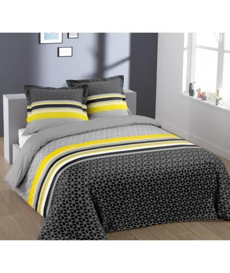 VISION Parure de couette 100% coton Lisa - 1 housse de couette 220x240 cm + 2 taies d'oreillers 65x65 cm gris et jaune