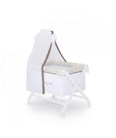 LULU CASTAGNETTE  Berceau complet (Bois + Textile + Ciel de Lit) Coton Brodé Lovely Lulu 55x85 cm Beige