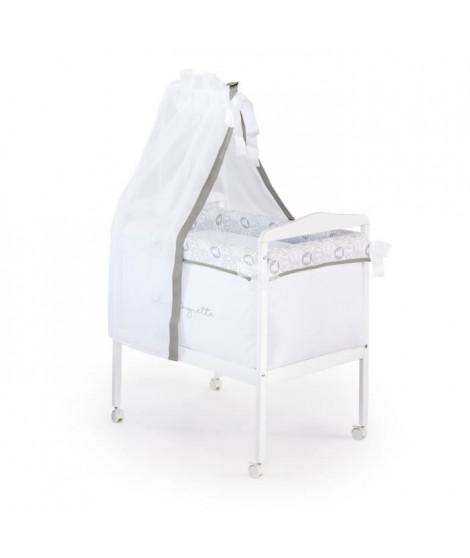 LULU CASTAGNETTE  Berceau complet Carré (Bois + Textileee + Ciel de Lit) Coton Brodé All Lulu 55x85 cm Gris