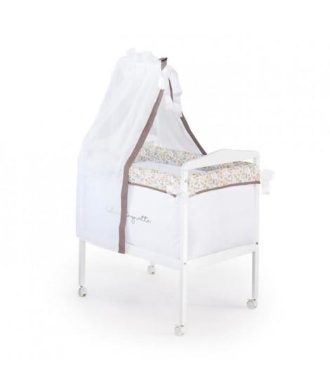 LULU CASTAGNETTE  Berceau Complet Carré (Bois + Textile + Ciel de Lit) Coton Brodé Lovely Lulu 55x85 cm Beige