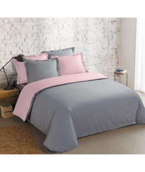 VISION Parure de couette 100% coton - 1 housse de couette 220x240 cm + 2 taies 65x65 cm gris et rose