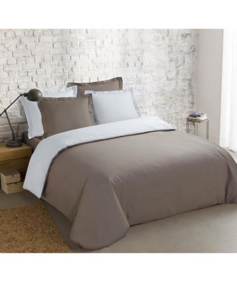 VISION Parure de couette 100% coton - 1 housse de couette 220x240 cm + 2 taies 65x65 cm taupe et blanc
