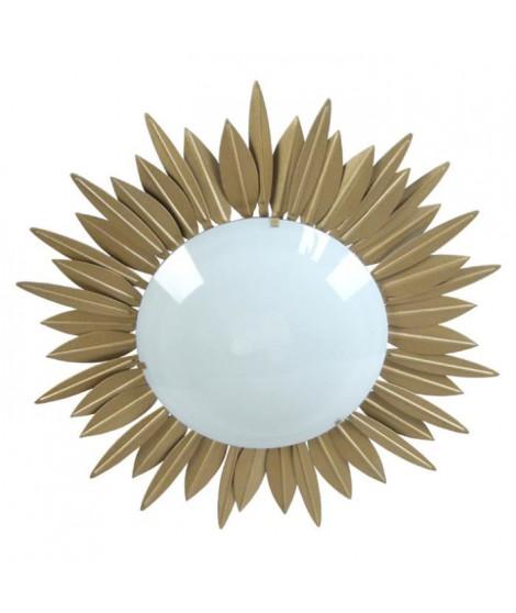 SOLEIL Plafonnier feuilles soleil verre opale - 45x45x13 cm - Or