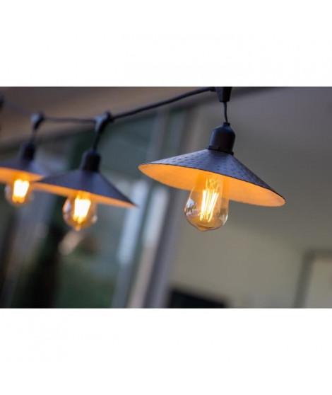 LUMISKY Guirlande décorative vintage - 10 ampoules avec abat jour a filament sur secteur 7m