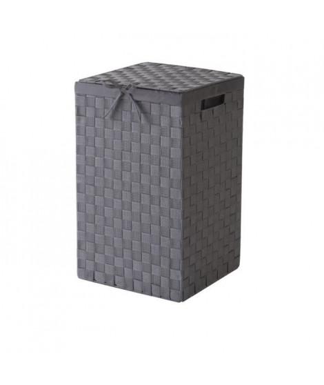 Panier a linge gris avec couvercle et tissu coordonne