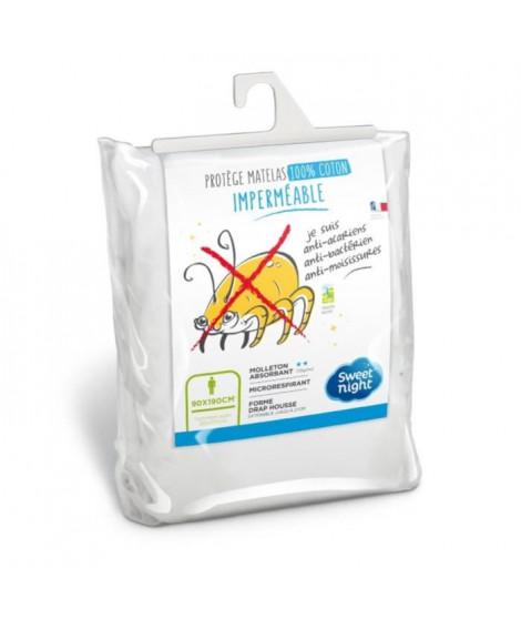 SWEETNIGHT Protege-matelas imperméable anti-acariens NoeMIE 160x200 cm - Blanc