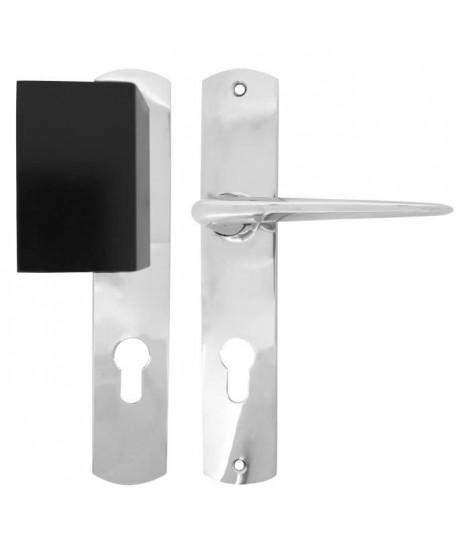 ALPERTEC Ensemble de poignées de porte paliere - En zamak chrome sur plaque - Cylindre