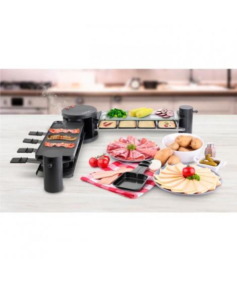 NOON FAMILY_V2_X2 Plancha 4 en 1 - Pierre a griller Grill Raclette Crepiere - 2x600W - 8 personnes